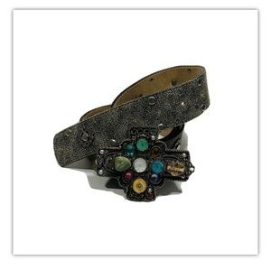 Leatherock  Leather Belt with Jeweled Cross Buckle